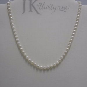 """18"""" White Faux Pearl Strand 14K Clasp Necklace"""